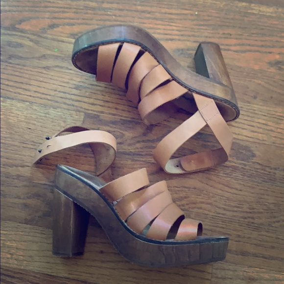 Free People Shoes - Free People wooden platforms 38 8